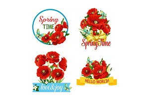 Vector icons of flowers and Spring Time quotes
