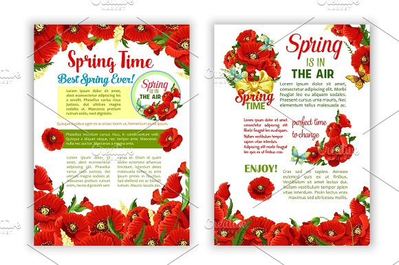 Vector Flowers Wreath Of Spring Time Quote Posters