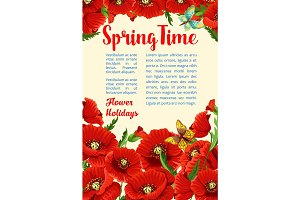 Vector springtime poster of poppy flowers bunch