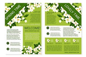 Vector spring time posters of white flowers wreath