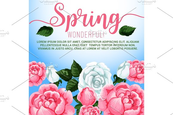 Spring Season Flowers Greeting Card Design