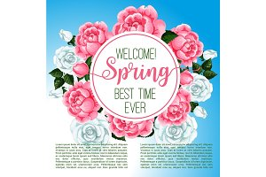 Spring flower frame for greeting card design