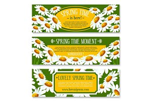 Spring banner set with springtime flowers