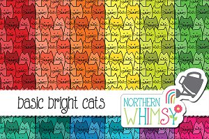 Bright Doodle Cat Patterns
