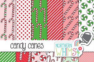 Candy Cane Seamless Patterns