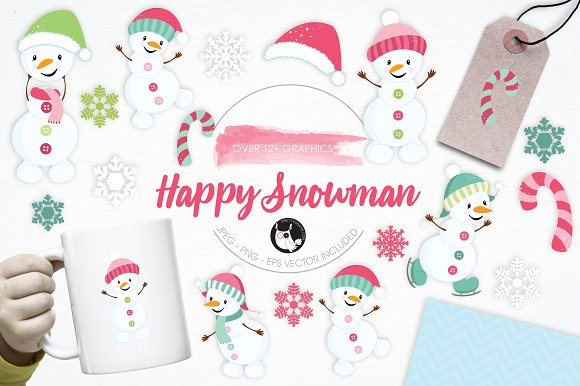 Happy Snowman Illustration Pack