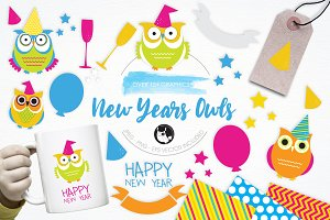 New Year Owls illustration pack