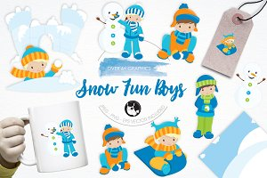 Snow Fun Boys illustration pack