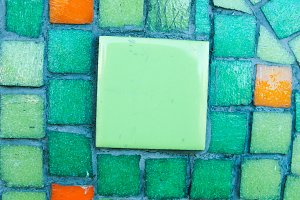 Mosaic Floor in Green and Orange