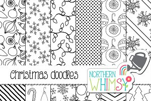 Black & White Christmas Doodles