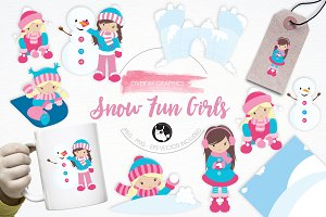 Snow Fun Girls illustration pack