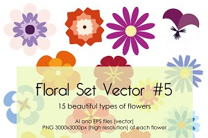 Floral Set Vector #5
