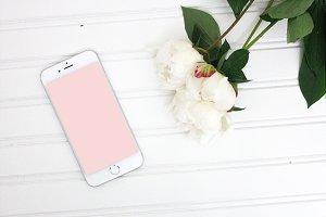 iPhone mockup desktop peonies