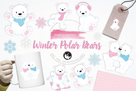 Winter Polar Bears Illustration Pack