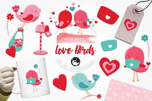 Love Birds illustration pack