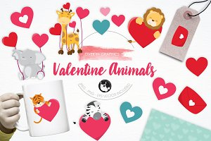 Valentine Animals illustration pack