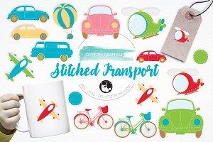 Stitched Transport illustration pack