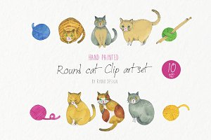 Cat watercolor animal pet graphics