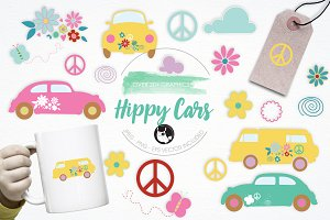 Hippy Cars illustration pack