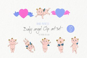 Cute Angel watercolor clipart