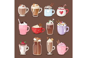 Set of different coffee cups types mug with foam beverage glasses vector illustration.