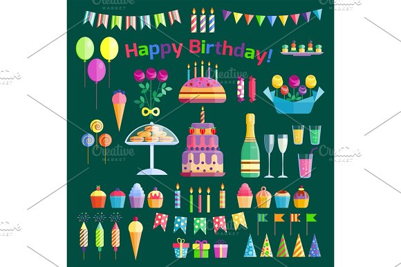 Party Icons Celebration Happy Birthday Surprise Decoration Cocktail Event Anniversary Vector