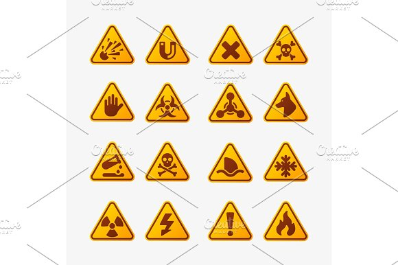 Prohibition Signs Set Industry Production Vector Yellow Red Warning Danger Symbol Forbidden Safety Information And Protection No Allowed Caution Information