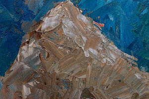 Mountain landscape with oil paints