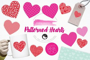Patterned Hearts illustration pack