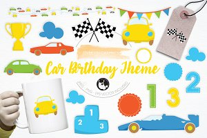 Car Birthday Theme illustration pack