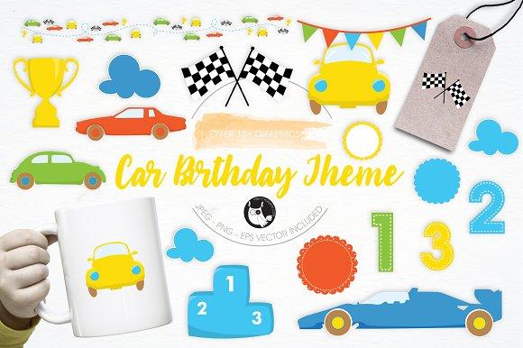 Car Birthday Theme Illustration Pack