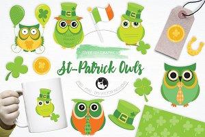 St. Patrick Owls illustration pack