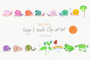 Snails frogs Watercolor clip art set