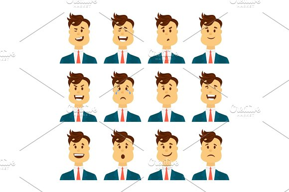 Set Of Male Facial Emotions Bearded Man Emoji Character With Different Expressions Vector Illustration In Cartoon Style