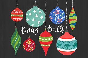 Christmas Clipart - Watercolor Balls