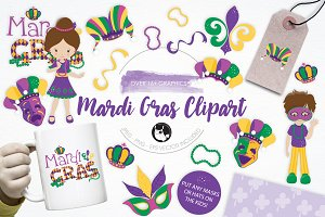 Mardi Gras Clipart illustration pack