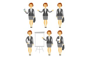 Cartoon woman character in various poses business lady images set with arms folded across her chest vector illustration
