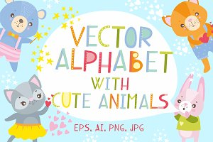 Vector alphabet and cute animals