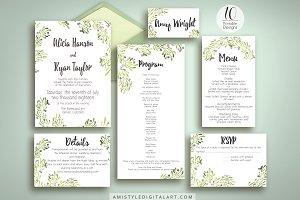 Olive Wedding Invitation Suite