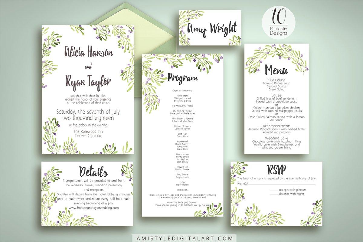 Olive Wedding Invitation Suite