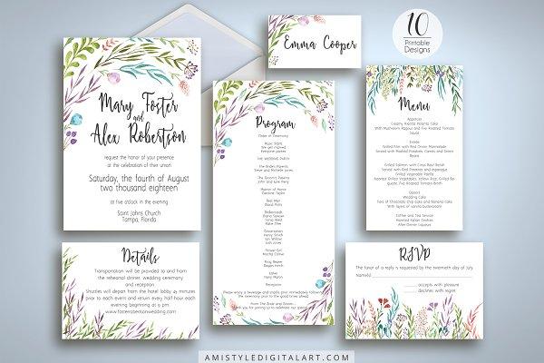 Watercolor Leaves Wedding Suite