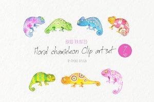 Chameleon clip art set Watercolor