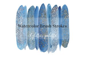 Glitter Watercolor Brush Strokes