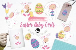 Easter Baby Girls illustration pack