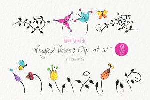 flower vine butterfly clip art set