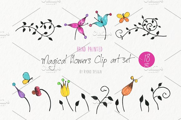 Flower Vine Butterfly Clip Art Set