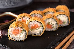 Hot fried Sushi Roll with salmon