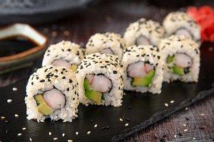 Sai roll sushi with royal prawn