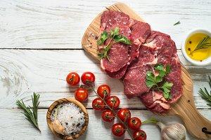 Beef steak with ingredients