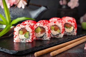 California Roll with salmon